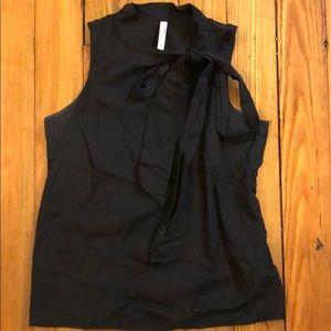 Black sleeveless top, bow detail